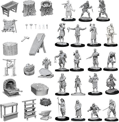 WizKids Deep Cuts Unpainted Miniatures: W8 Townspeople & Accessories