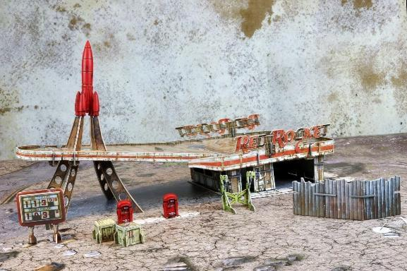 Fallout: Wasteland Warfare – Terrain Expansion: Red Rocket Gas Station (No Mat) Fallout: Wasteland Warfare Modiphius Entertainment