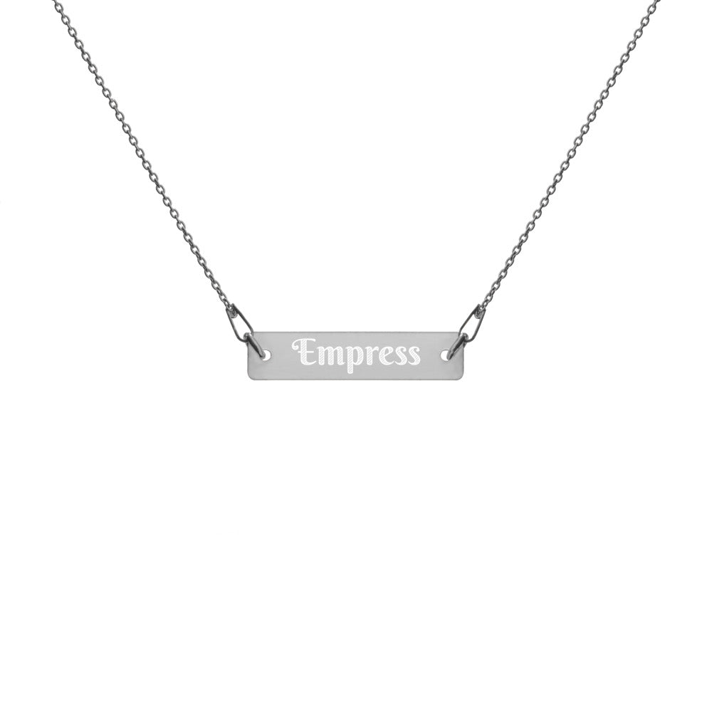 Empress Engraved Silver Bar Chain Necklace
