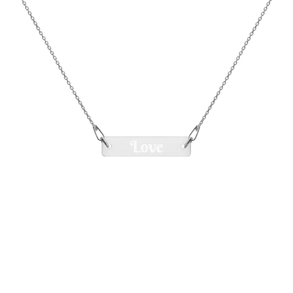 Love Engraved Silver Bar Chain Necklace