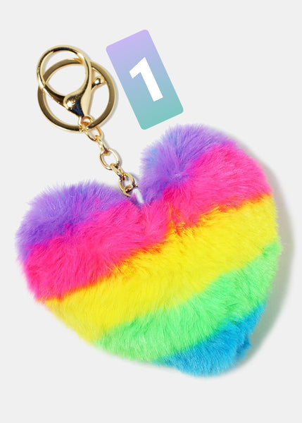 Colorful Stiped Fuzzy Heart Keychain
