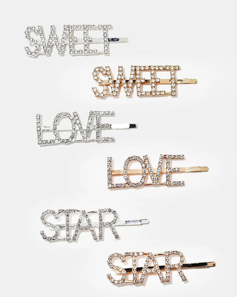Text Hair Clips