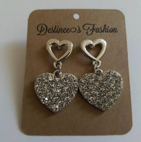 Metal Stone Heart Earrings
