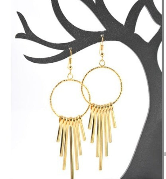 Multi Bar Circle Earrings