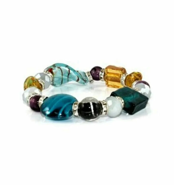 Waving Murano Glass Stone Stretch Bracelet