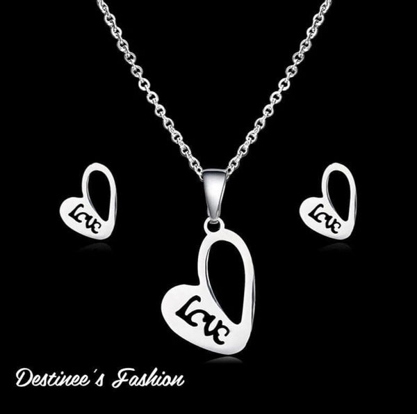 """Love"" Stainless Steel Necklace Set"