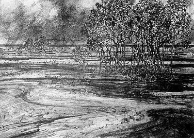 Alasdair McGregor - Lithograph - Squall Approaching Bushy Islet, Cape York