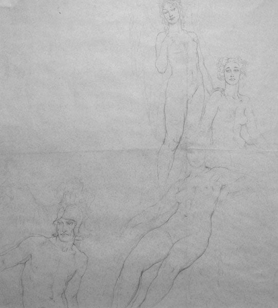 Norman Lindsay - Olympus - Study for the watercolour