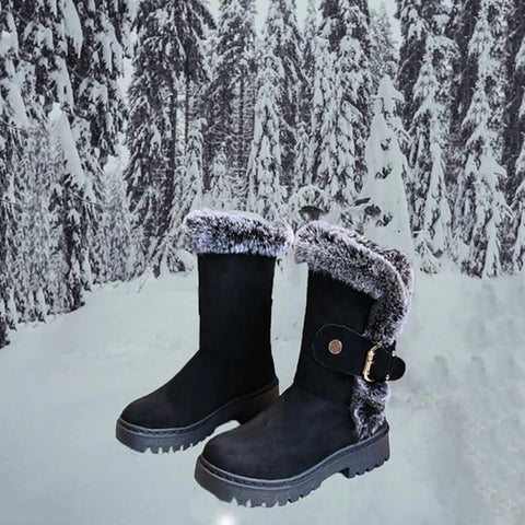 Winter Warm Low Heel Mid-Calf Snow Boots