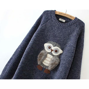 Long Sleeve Round Neck Owl Sweaters