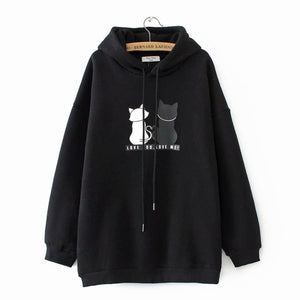 Loose Cat Back Print Hoodies