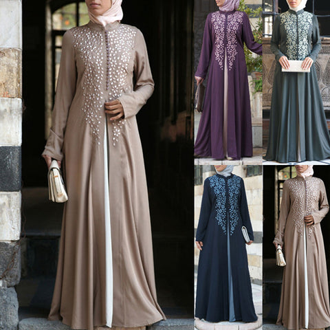 Stand Collar Contrast Muslim Appliques Long Sleeve Dress