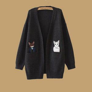 Kitten Long Sleeve V Neck Coats