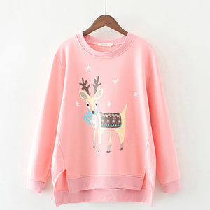 Casual Irregular Deer Printed Winter Blouses