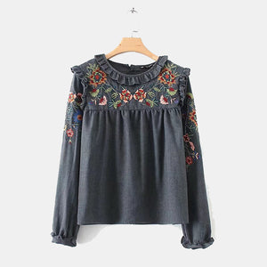 spring women Long Sleeve Back Button Blouses