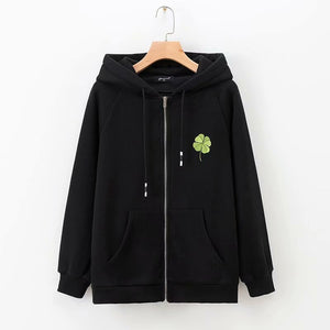 Casual Four-leaf Clover Printed Hoodied Coats
