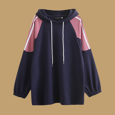 Casual Color-Block Plus Size Hoodies