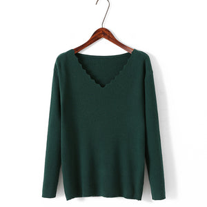 Winter V Neck Solid Color Blouses