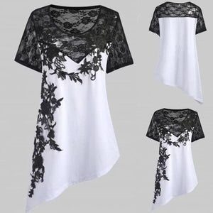 Summer Women Applique Plus Size Asymmetric Top