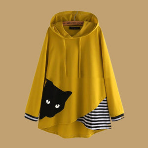 Cartoon Cat Striped Patchwork Hoodies