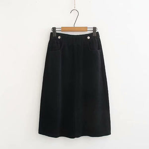Elastic Band Pockets Buttoned Plus Size Skirts