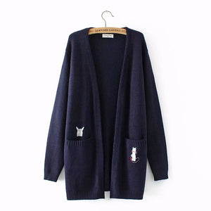 Embroidered Cat Pocket Long Sweater Cardigan
