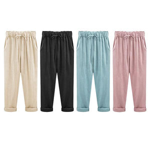 Women Solid Casual Plus Size Loose Candy Color Harem Pants