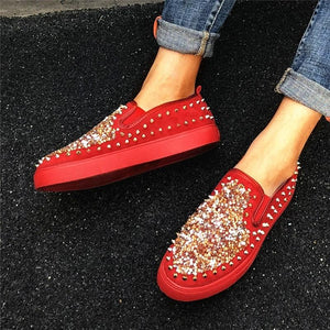 Women Daily Fashion Sequin Rivet Slip-on Loafers