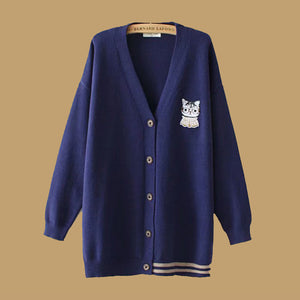 Casual Cat Long Sleeve Coats
