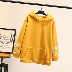 Casual Printed Plus Size Pockets Hoodies