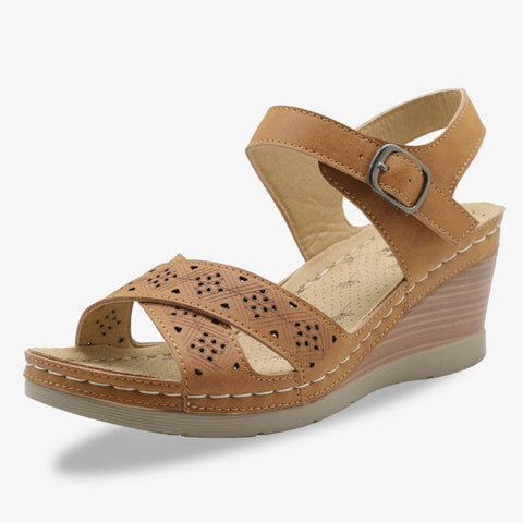 Women's Comfy Breathable Hollow Buckle Wedge Sandals