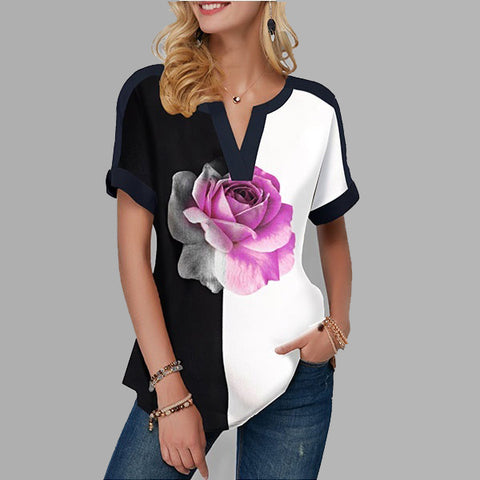 Summer Women V Neck Floral Short Sleeves Casual Tops