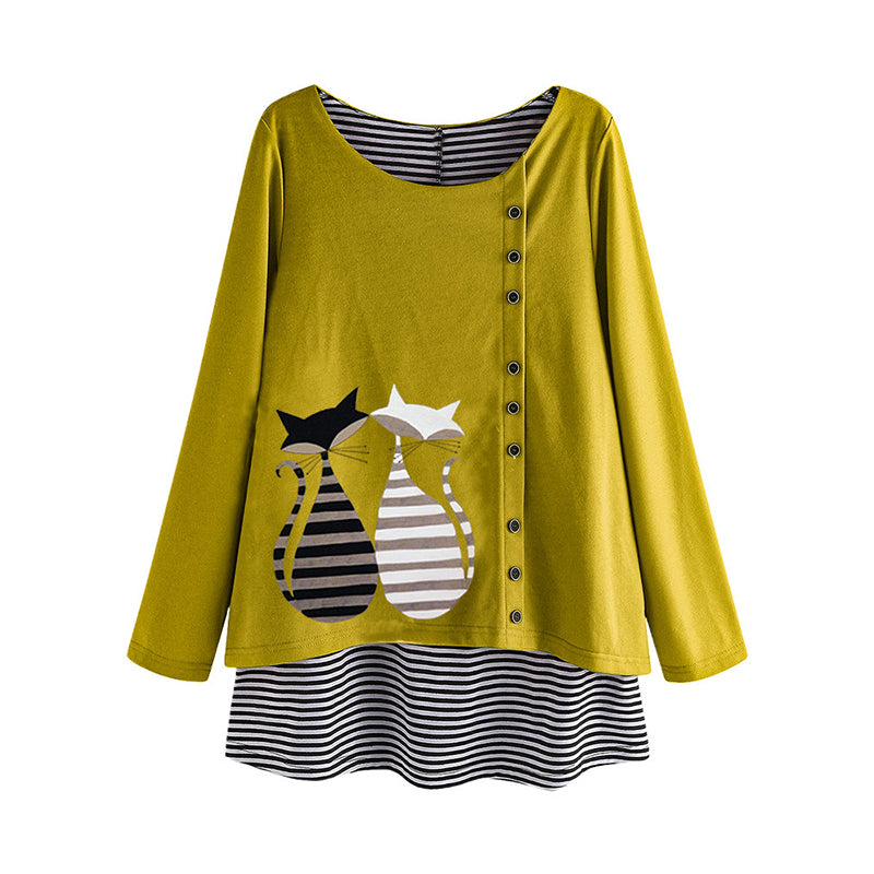 Striped Kitten Print Long Sleeve Blouses