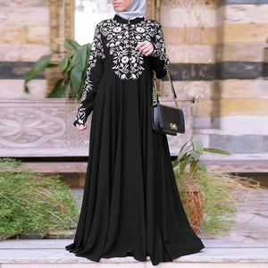 Women's Long Sleeve Stand-up Collar Print Muslim Long Dress