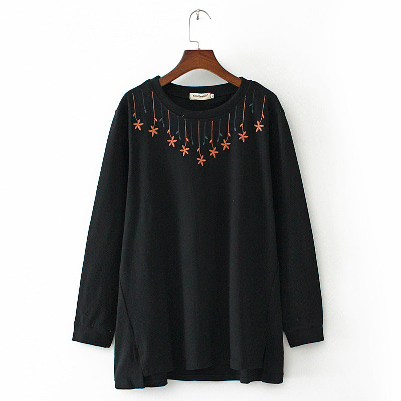 Casual Embroidered Long Bottoming Blouses