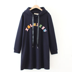Casual Letter Printed Loose Hoodies