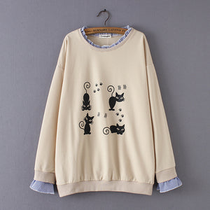 Loose Cute Cartoon Long Sleeve Blouses