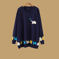 Long Sleeve Round Neck Elephant Sweaters