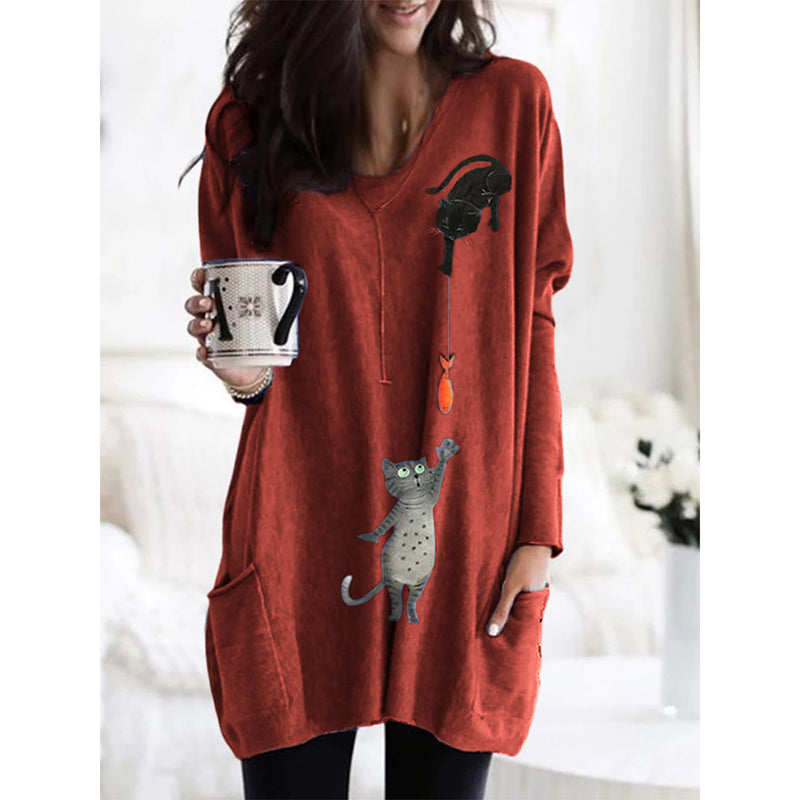Cartoon Cat Print Pockets Long Sleeve Loose Blouse