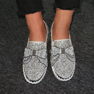 Women Shining Rhinestone Slip-on Cute Bowknot Loafers