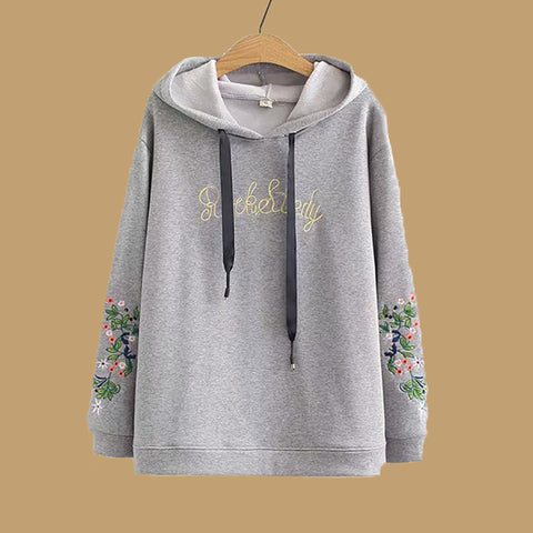 Casual Letter Flower Embroidered Hoodies
