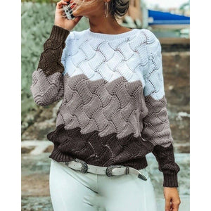 Springl Women Crewneck Color Block Slim Fit Sweaters