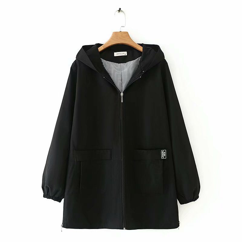 Zipper Pockets Plus Size Windbreaker Coats