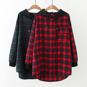 Casual Hoodied Buttons Grid Blouses