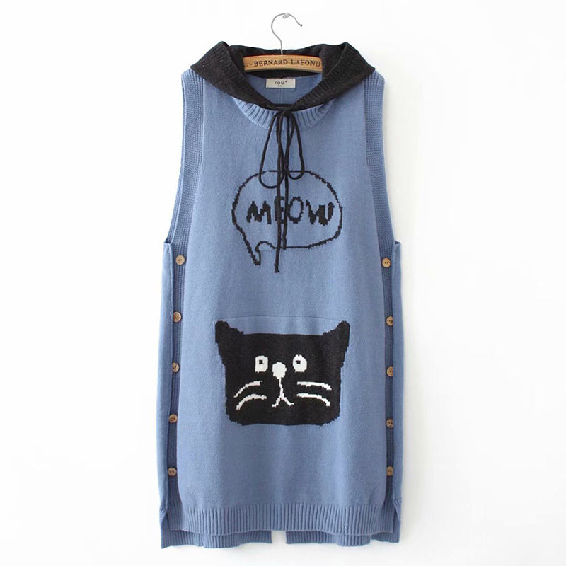 Casual Contrast Color Sleeveless Hoodies