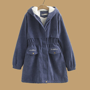Mid-length Lamb Hooded Casual Coats
