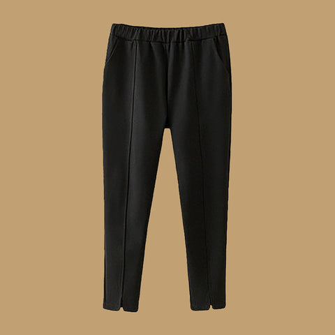 Solid Elastic Band Pockets Casual Pants