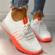 Women Colorblock Knitted Breathable Lace-Up Sneakers