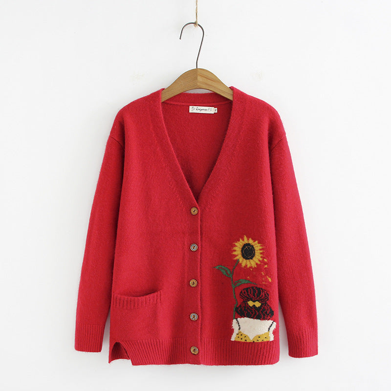 Sunflower Long Sleeve V Neck Coats