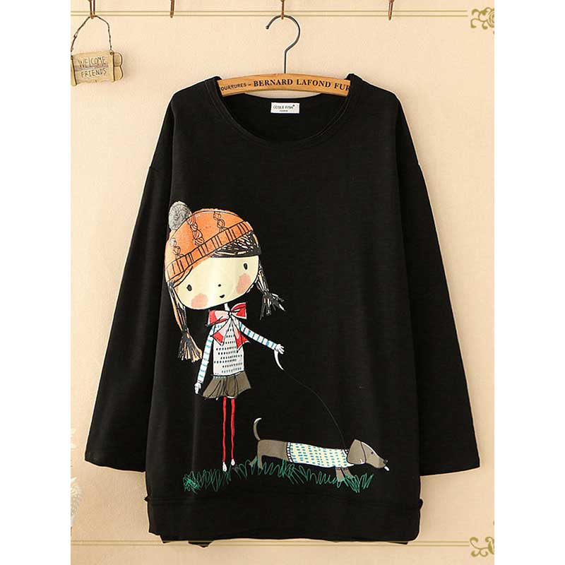 Round Neck Cartoon Printing Casual Blouses